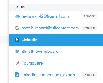 FullContact account sources screenshot
