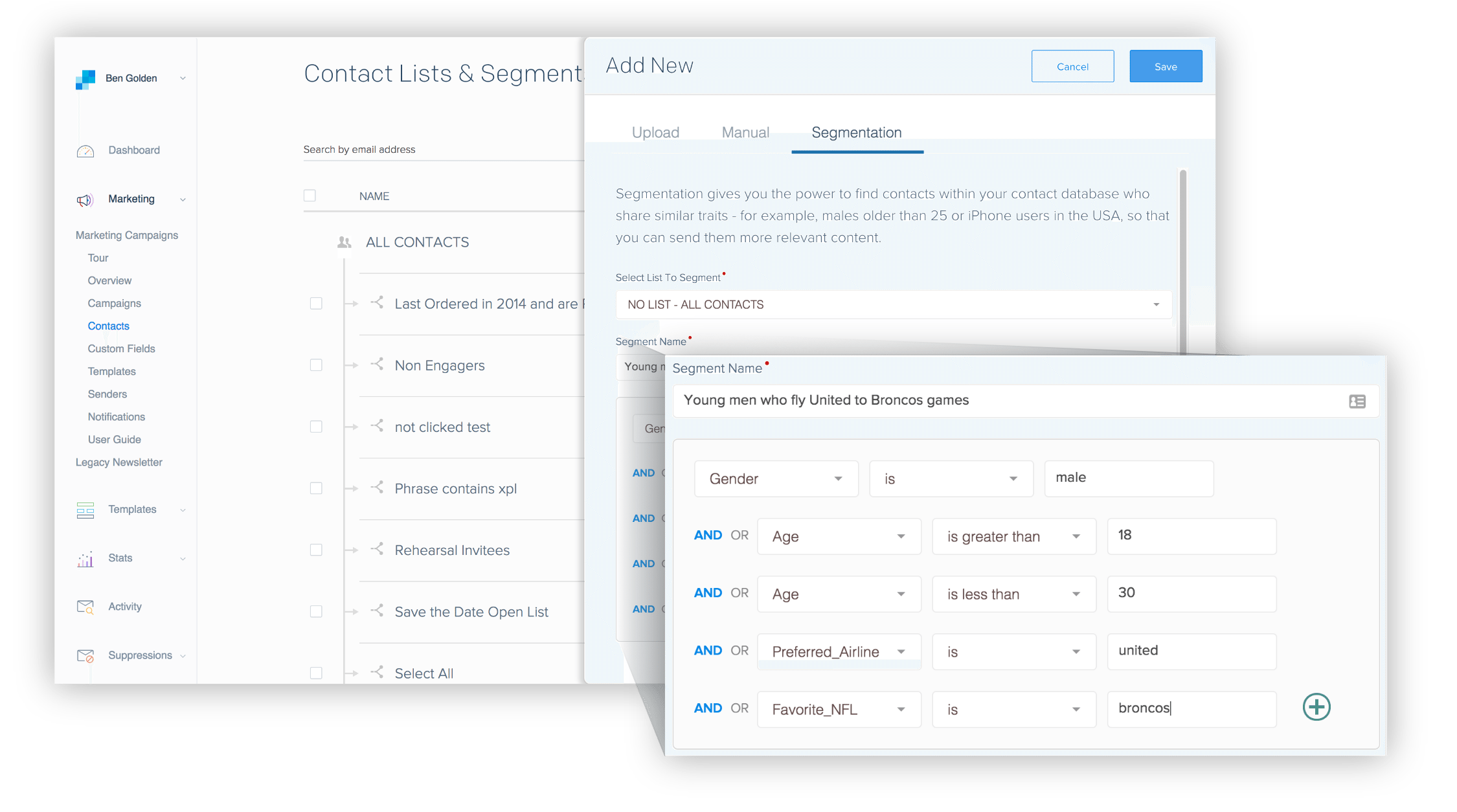 Screenshot of segmentation in SendGrid